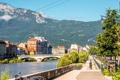 Grenoble stad i Frankrike Arkivfoto