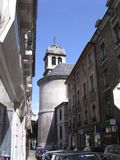 Grenoble street. Back street of Grenoble, France under God protection Royalty Free Stock Image
