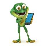 Grenouille avec le smartphone Photo libre de droits