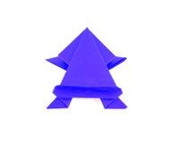Grenouille bleue d'origami de couleur Photographie stock libre de droits