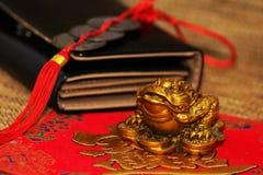 Grenouille chanceuse d'argent de shui chinois de feng Photographie stock