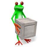 grenouille 3D et boîte en bois Photographie stock