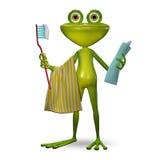 grenouille de l'illustration 3d avec la pâte dentifrice Image libre de droits