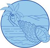 Grenouille géante Shell Beach Palm Tree Circle rétro illustration libre de droits