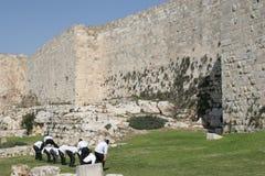 Grenouille juive de saut par le vieux mur de ville Images stock