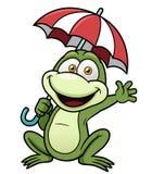 Grenouille tenant le parapluie illustration libre de droits