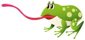 Grenouille verte avec la languette longue illustration de vecteur