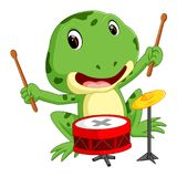 Grenouille verte jouant le tambour illustration stock
