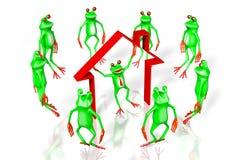 grenouilles de la bande dessinée 3D - concept de maison Photos stock