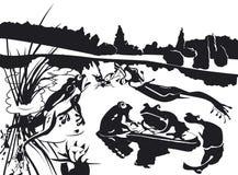 Grenouilles et crapaud près de leur étang Photographie stock libre de droits