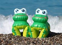 Grenouilles gonflables sur une plage pierreuse Photos libres de droits