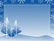 Grens 2 van de Sneeuwvlok van de Boom van de winter Royalty-vrije Stock Fotografie