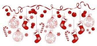Grens met de traditionele symbolen van Kerstmis Royalty-vrije Stock Foto's