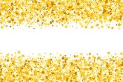 Grens met flikkeringssterren Gouden fonkeling Gouden kader van sterren Grens confetti royalty-vrije illustratie