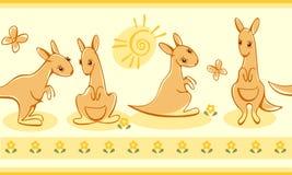 Grens met kangoeroes. Royalty-vrije Stock Afbeeldingen