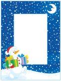 Grens met Kerstmissneeuwman Stock Fotografie
