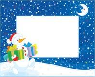 Grens met Kerstmissneeuwman Royalty-vrije Stock Fotografie