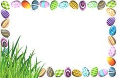 Grens met Kleurrijke Paaseieren Stock Foto's