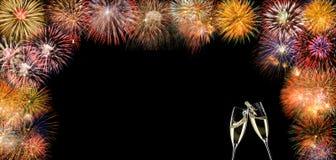 Grens met vuurwerk Stock Foto's