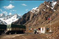 Grens tussen Chili en Argentinië Stock Foto's