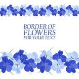 Grens van blauwe bloemen voor uw tekst Stock Foto's