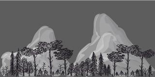 Grens van bomen en bergen op grijze achtergrond Royalty-vrije Stock Foto