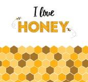Grens van de beeldverhaal de leuke gele honingraat en woordhoning Stock Foto