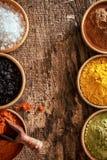 Grens van kleurrijk kruid in kommen Stock Foto's