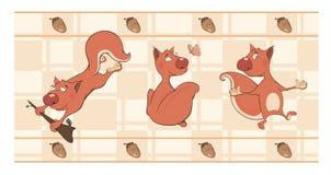 Grens voor behang met eekhoorns Stock Foto's