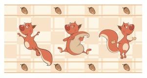 Grens voor behang met eekhoornsbeeldverhaal Stock Afbeeldingen