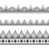 Grenselementen in Indische mehndistijl voor kaart of tatoegering Vector illustratie die op witte achtergrond wordt geïsoleerdd royalty-vrije stock afbeelding
