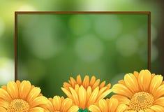 Grensmalplaatje met gele bloemen Stock Afbeelding