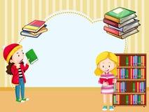 Grensmalplaatje met meisjes die boek lezen Stock Afbeeldingen