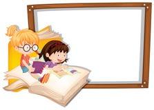 Grensmalplaatje met twee meisjes het lezen Stock Afbeeldingen