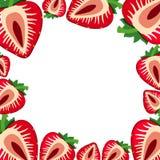 Grensmalplaatje met verse aardbeien royalty-vrije illustratie