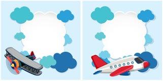 Grensmalplaatjes met vliegtuigen en blauwe wolken stock illustratie