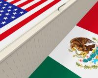 Grensmuur tussen Amerika en Mexico royalty-vrije illustratie