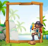 Grensontwerp met papegaai en piraat Stock Afbeeldingen