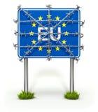 Grensteken van Europese Unie met prikkeldraad Royalty-vrije Stock Foto