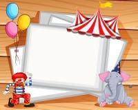 Grenzdesign mit Clown und Elefanten Stockfoto