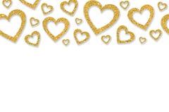 Grenze mit goldenen Herzen von Paillettekonfettis Funkelnder Hintergrund des Funkelnpulvers Lizenzfreie Stockfotografie