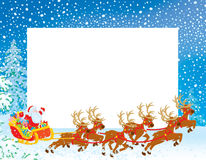 Grenze mit Pferdeschlitten von Weihnachtsmann stock abbildung