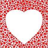 Grenze mit roten Herzen Die Grußkartendesignschablone, die mit dem Herzen gemacht wird vom kleinen Herzen verziert wird, formt Stockbild