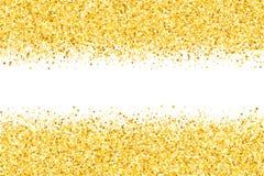 Grenze mit Schimmersternen Goldschein Goldener Rahmen von Sternen Rand confetti Stockfotografie