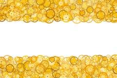 Grenze mit vielen Gängen Goldener Rahmen von Gängen Technologischer Rahmen Mechanische Auslegung Gelbe Zähne Stockbilder