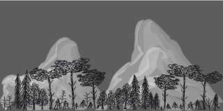Grenze von den Bäumen und von den Bergen auf grauem Hintergrund Lizenzfreies Stockfoto