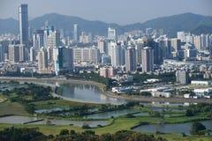Grenze zwischen Hong und China Stockfotografie