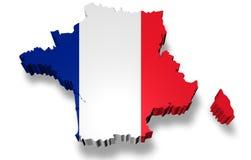 Grenzen 3d von Frankreich mit Schatten Lizenzfreies Stockbild
