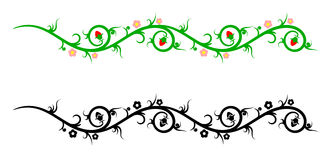 Grenzen, decoratieve bloemelementen Stock Afbeelding