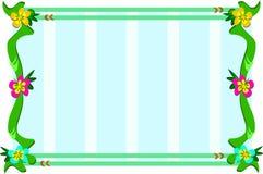 Grenzen mit Reben und Blumen und Streifen-Hintergrund Stockbilder